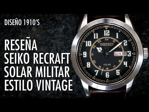 Reseña Seiko Recraft Militar Vintage SNE445 Reloj Solar de Cuarzo en Español