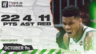 Giannis Antetokounmpo Full Highlights vs Utah Jazz (2019.10.09) - 22 Pts, 11 Reb, 4 Ast!