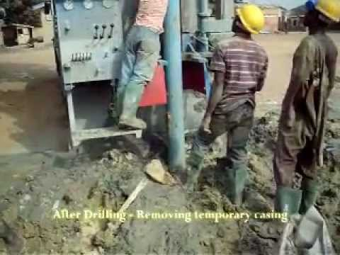 After Drilling - Removing temporary casing - Enacent Limited Ghana