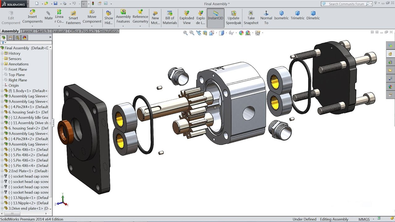 Solidworks tutorial | How to Make Hydraulic Pump in