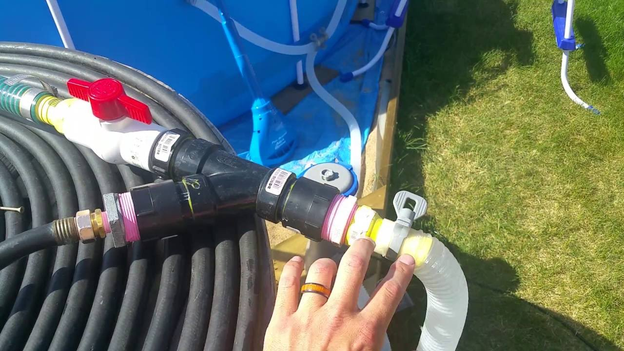 How To Make A Valve That Heats Your Above Ground Pool With Solar Heat And  Original Pump