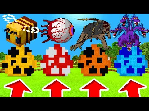 Minecraft PE : DO NOT CHOOSE THE WRONG SPAWN EGG! (Bees, Demon Eye, SCP-682 & Hydra Dragon)