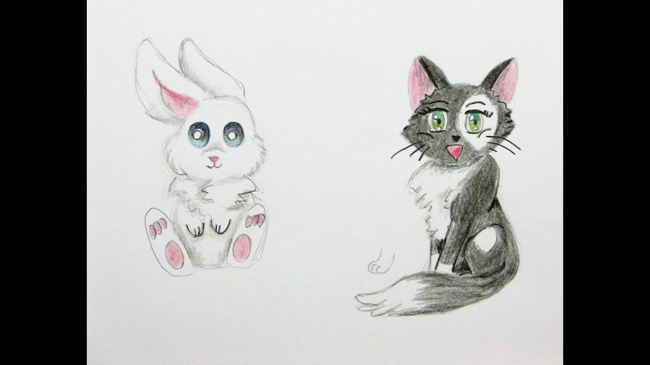manga tiere zeichnen lernen 2 hase und katze manga. Black Bedroom Furniture Sets. Home Design Ideas