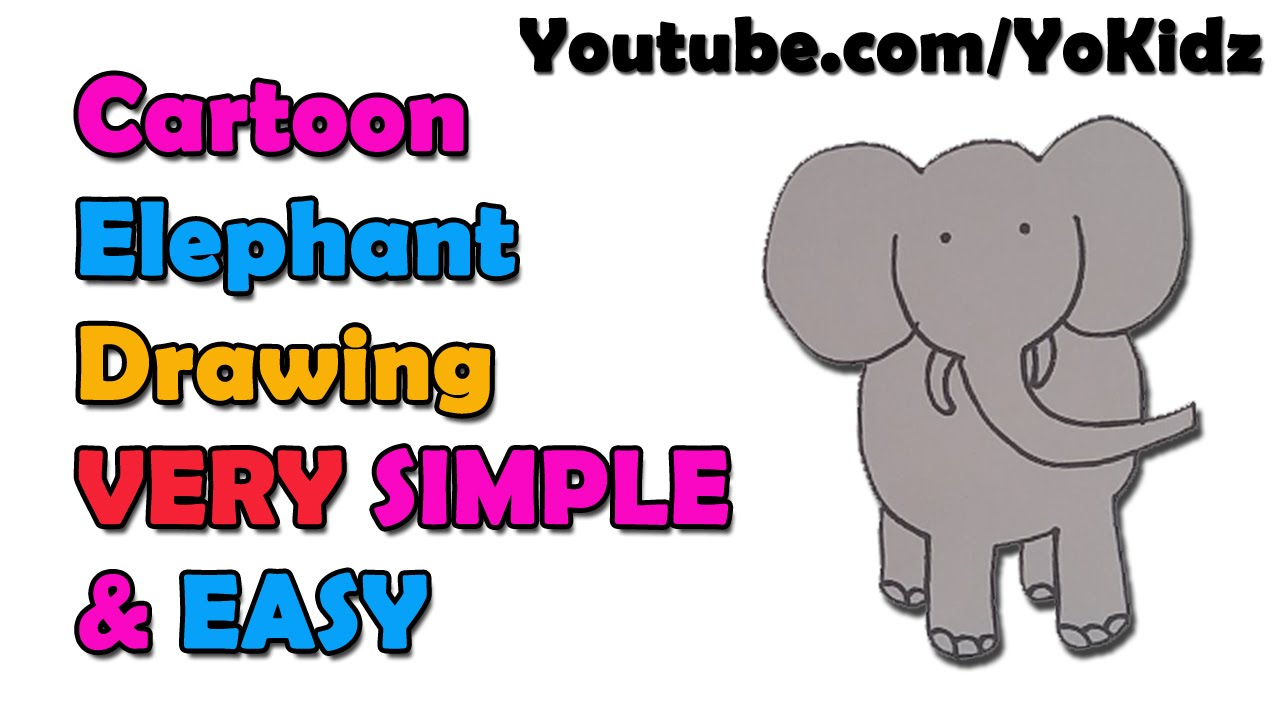 how to draw a cute cartoon elephant for kids easy and simple youtube