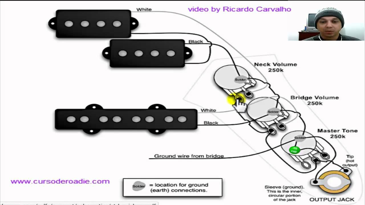 Circuito Eletrico Jazz Bass : Ligação de captador pj passivo para baixo youtube