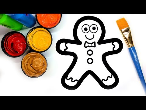 Coloring Gingerbread Man with Paint, Painting Pages for Children to learn to color with paint