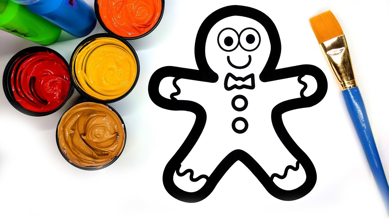 Coloring Gingerbread Man With Paint Painting Pages For Children To
