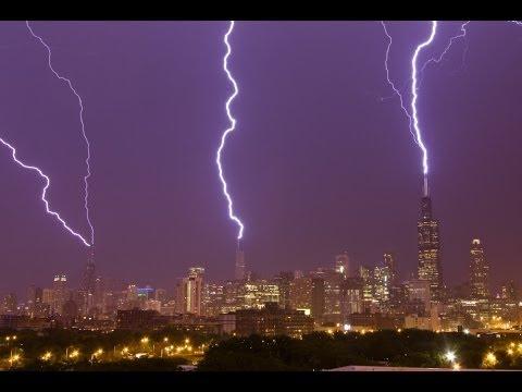 Chicago Triple Lightning Strikes to Sears, Trump, Hancock - June 30