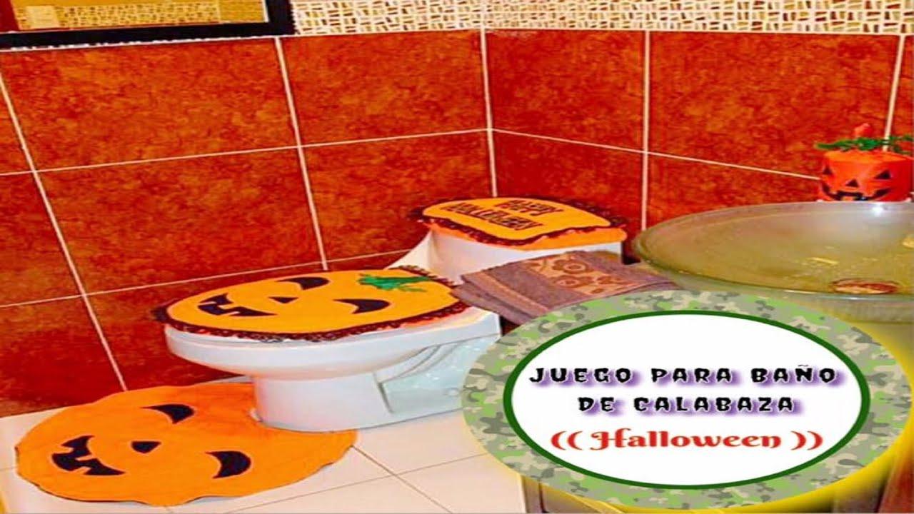 Juego para ba o de calabaza halloween youtube for Juego de bano economico