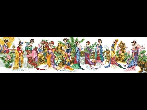 12 красавиц японок схема вышивки
