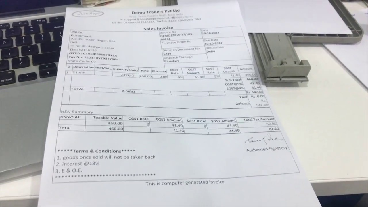 Printing Invoice on A4, A5 Paper | Printer Settings | How to Print Invoice  From Book Keeper Windows
