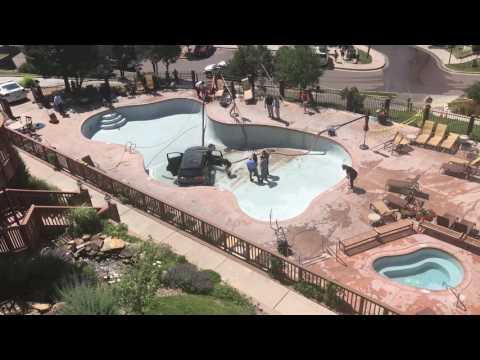 BTL: Car flies into a Colorado Springs resort pool
