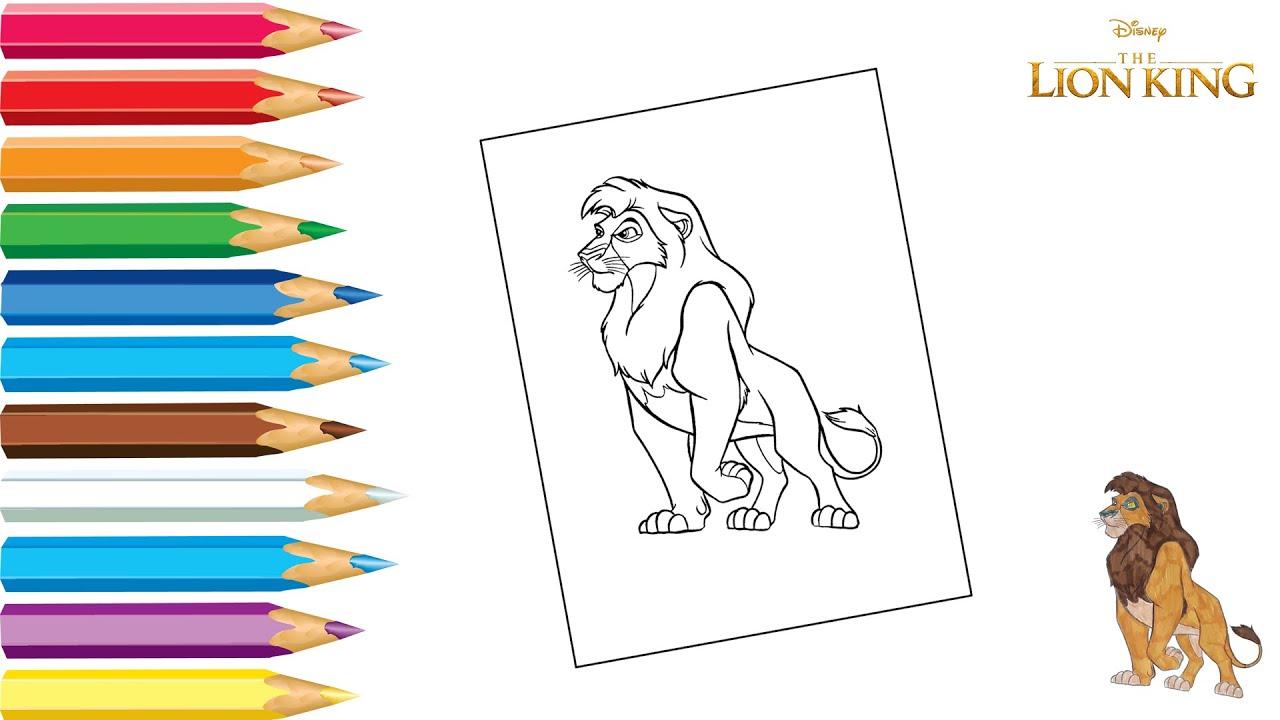 Раскраска Король Лев / Coloring Lion King / Как раскрасить ...