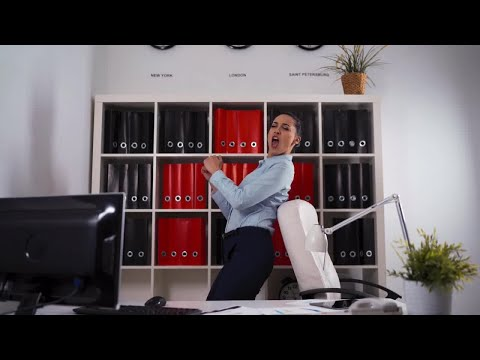 Businesswoman Dancing Singing In Office Stock Video