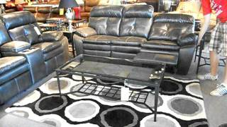 Charcoal Grey Double Reclining Sofa and Gliding Console Love Seat