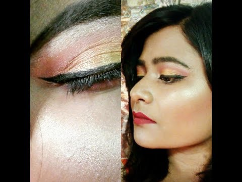 Glamorous golden eye makeup with red lips II 2017