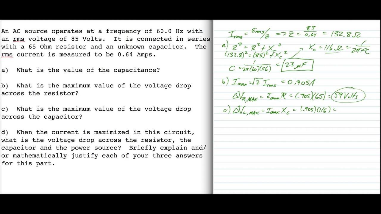Physics 10164 Spring 2014 Exam 3c Problem 3 Youtube Voltage Drop In Ac Circuit