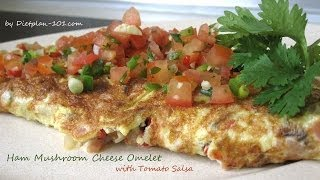 Ham Mushroom Cheese Omelet With Tomato Salsa | Dietplan-101.com