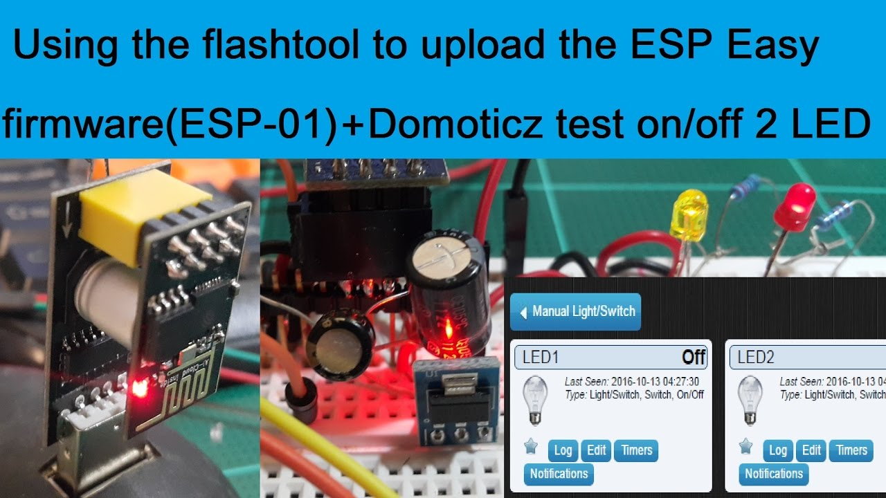 Using the flashtool to upload the ESP Easy firmware + Domoticz Controller  on/off 2 LEDs