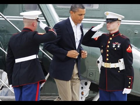 President Obama Says Hello to Two Marines With The  Latte Salute