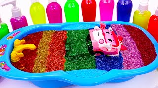 Learn Color Glitter Slime with POLI Car Masks | Baby Songs , Rainbow Satisfying Slime Videos