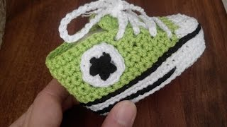 Tutorial Crochet: how to make soles of baby shoes ALL STAR CONVERSE