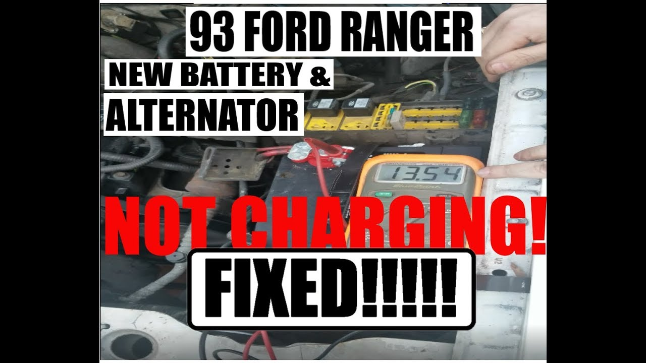 93 FORD RANGER 2 3L NEW BATTERY AND ALTERNATOR, STILL NOT CHARGING  FIXED!!  HELP VIDEO