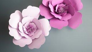 найти как сделать большие цветы для украшения зала из бумаги