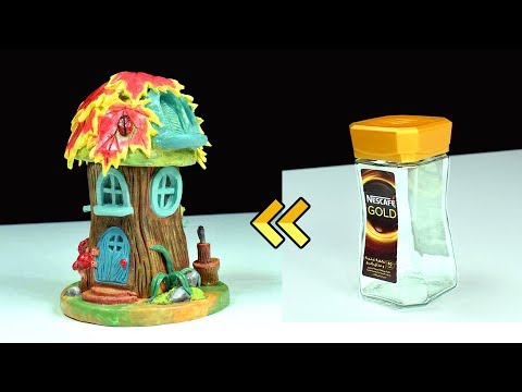 DIY Log Fairy House Using Jar | Paper Clay Tutorial