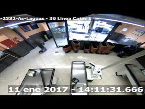 Imágenes cámara de seguridad atraco Mercadona en Ourense