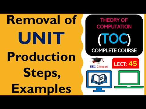 TOC Lecture 39: Removal of UNIT Production Steps with Solved Example in Hindi