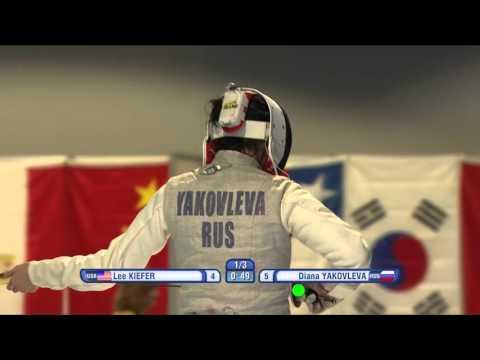 FE W F Individual Havannah GP 2016 Semifinal 01 podium KIEFER USA vs YAKOVLEVA RUS