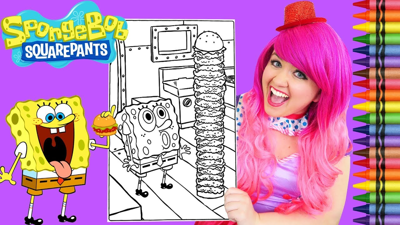 Coloring SpongeBob Squarepants Krabby Patty GIANT Coloring Page ...