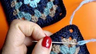 Вязание крючком Урок 229 Как соединять мотивы иглой Crochet