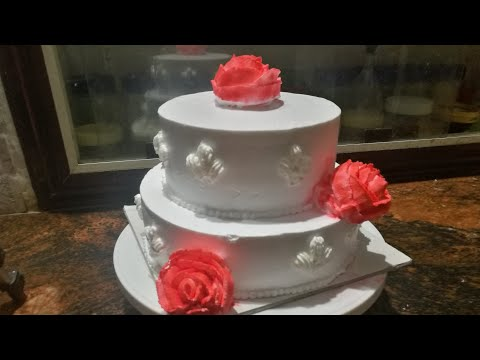 wedding-cake-/-simple-2-tier-cake-recipe-/-how-to-make-wedding-cake-without-oven-with-whipped-cream