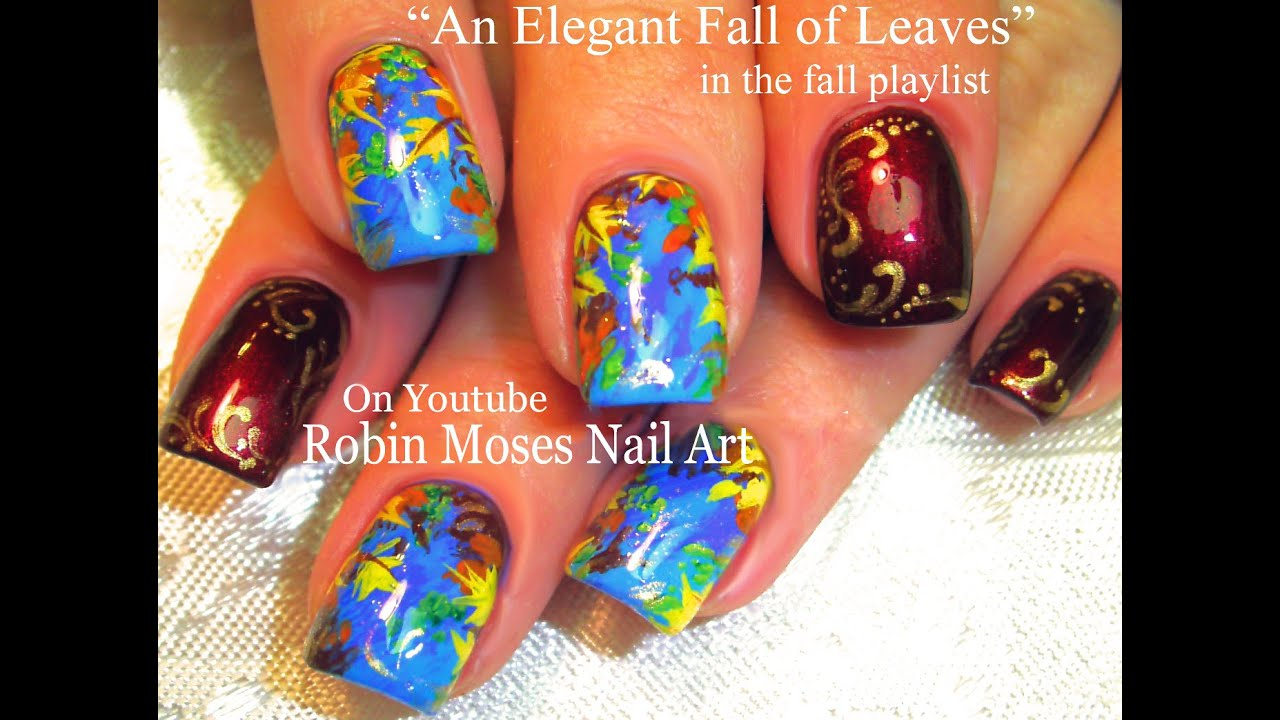 DIY Fall Leaves Nail Art Design Tutorial | Elegant Autumn Nails ...