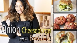 Cooking Healthier For Weight Loss: Onion Cheeseburger On A Bagel (under 400 Calories)!!!