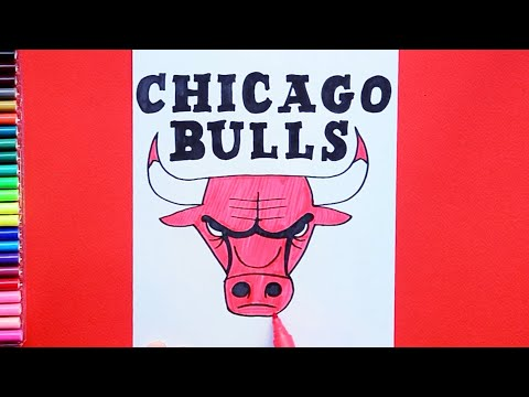 How to draw and colour the Chicago Bulls Logo - NBA Team Series
