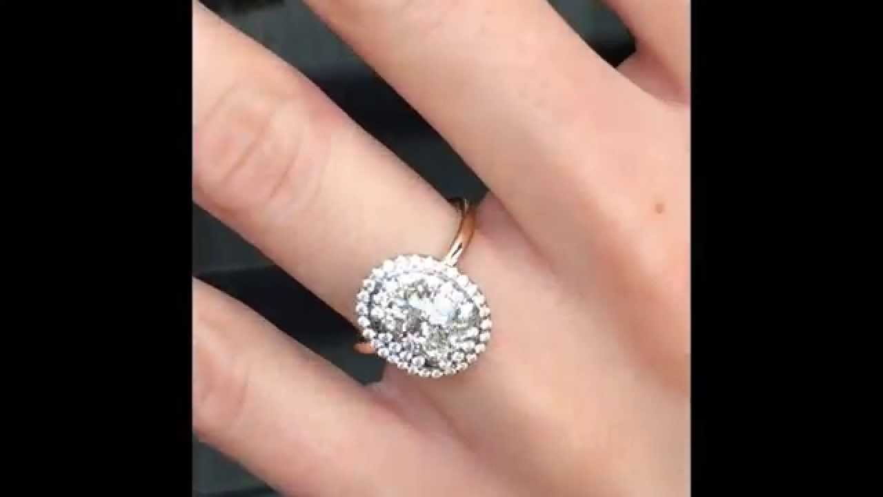 Oval Diamond Engagement Ring In Double Halo Youtube