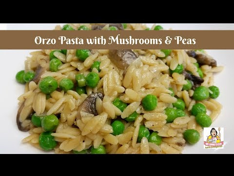 Orzo Pasta With Mushrooms And Peas ~ Easy Creamy Orzo Pasta Recipe ~ Amy Learns To Cook