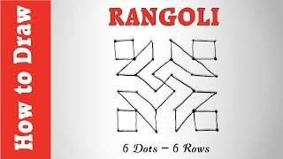 How to Draw Rangoli Pattern with 6 Dots -- 6 Rows