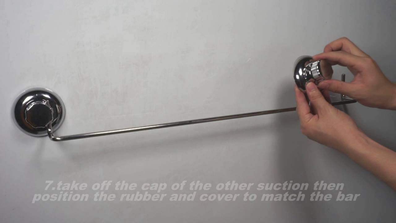 MaxHold suction cup towel bar installation - YouTube