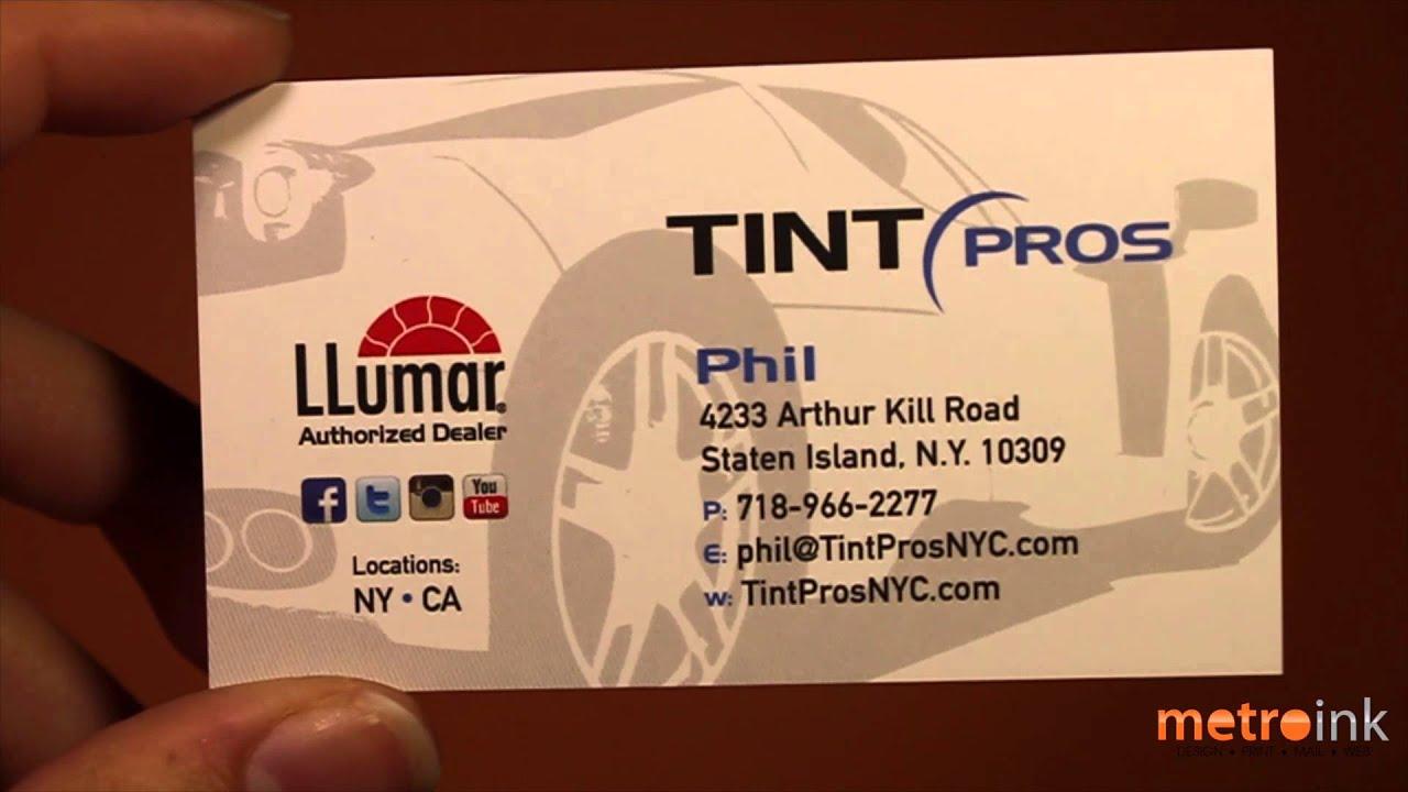 metroink 32pt raised spot uv business card tint pros youtube