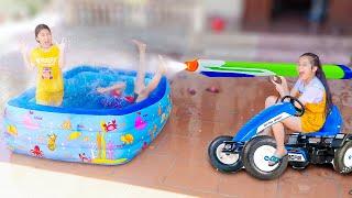 Chế Tạo Chiếc Xe Ô Tô Phun Nước ❤ Bể Bơi Tràn Ngập Bóng Nước   Trang Vlog