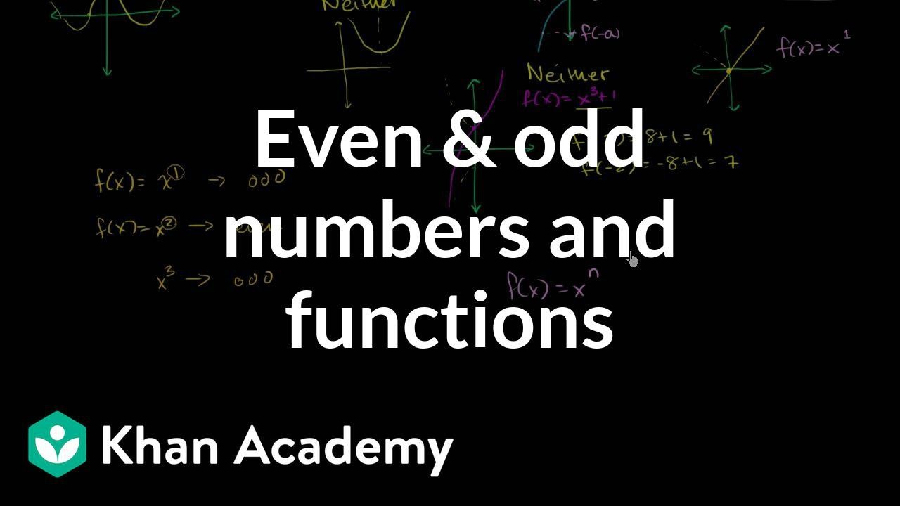 Connection between even and odd numbers and functions | Algebra II | Khan Academy