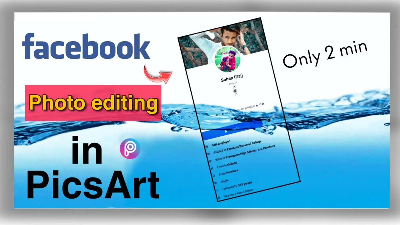 How To Facebook Profile SS Water photo Editing in PicsArt/Facebook Viral Photos Editng in Hindi