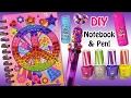 DIY Funky Notebook & Pen Set! Decorate with Gem Stones! Fun Craft! Ring Pop Lip Gloss! Nail Polish!