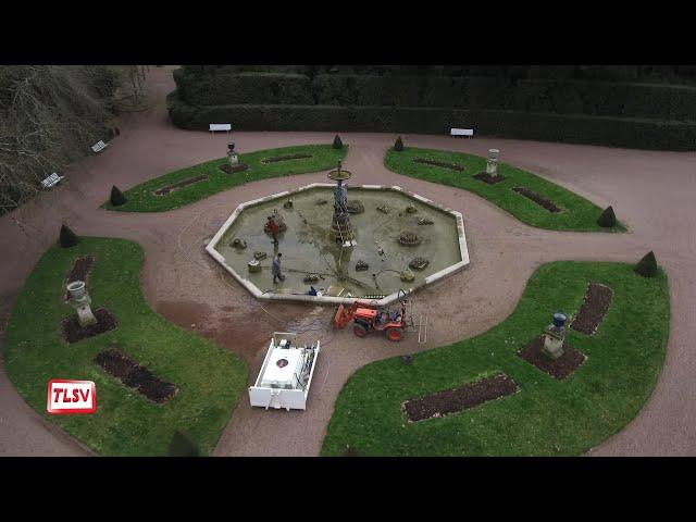 Luçon. Jardin Dumaine : le bassin et ses naïades nettoyés