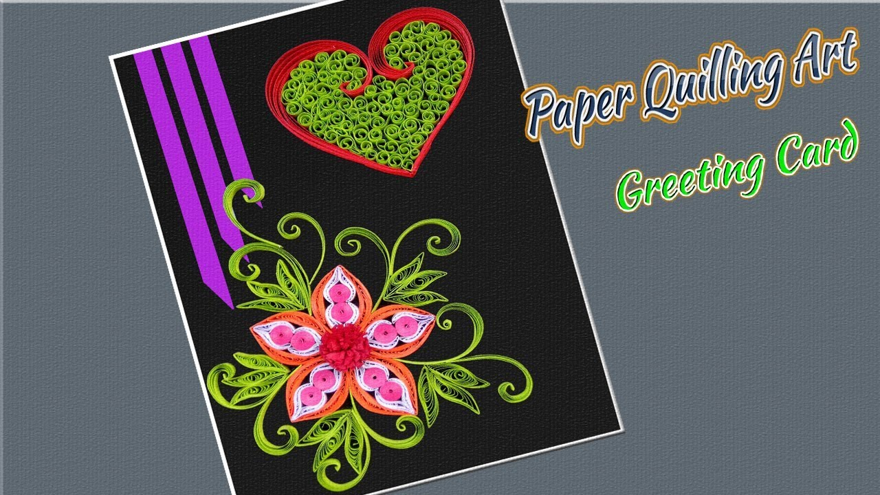 Paper Art Valentine S Day Greeting Card With Quilling Flowers