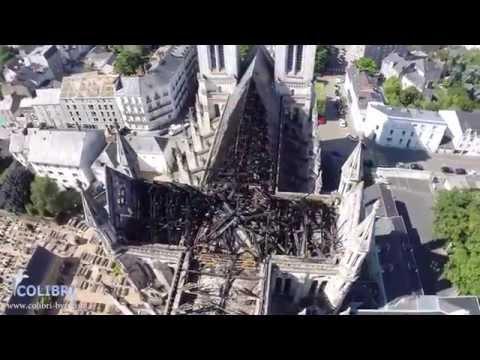 Basilique Saint Donatien vue par drone (incendie du 15 juin)